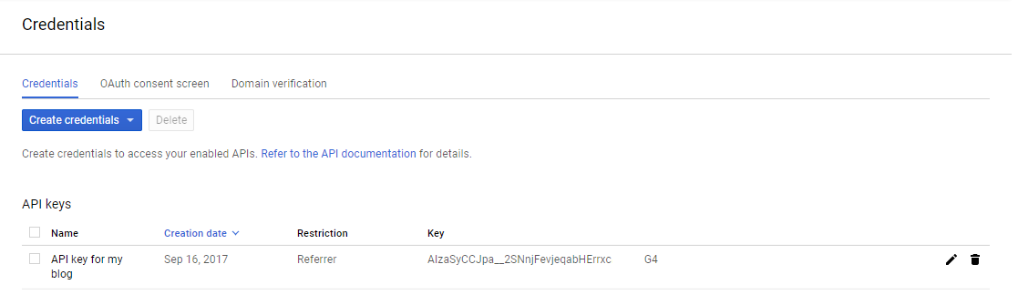 Your Google API Console, you can edit your key by clicking on it