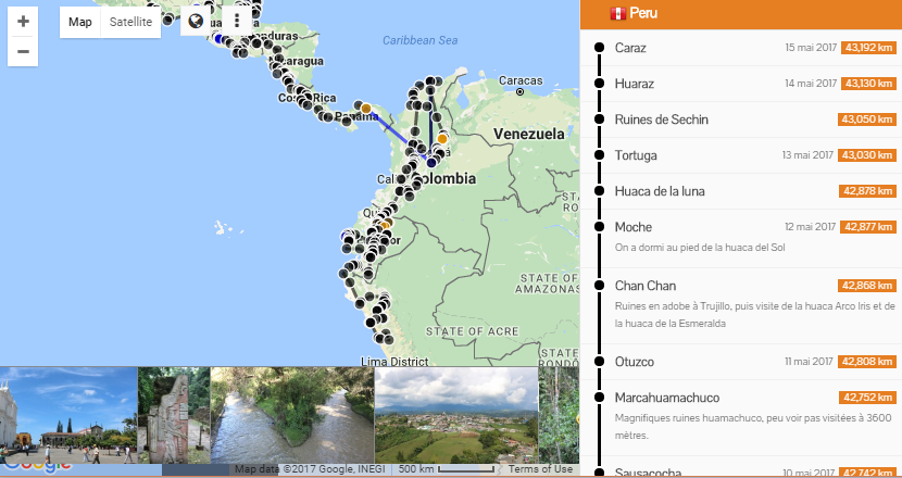 Travel map with photos